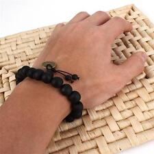 Black Buddha Prayer Peach Wood beads Bracelet Mala Bangle Wrist Coins Ornament