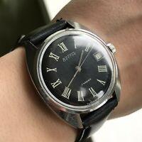 Classic VOSTOK Roman Numerals Retro Mechanical Date Men Wristwatch Soviet Analog