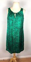 Dana Buchman Women's Emerald Green Sleeveless Animal Print Dress Size Small