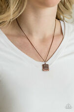 Paparazzi Jewelry Back To Square One - Copper Necklace & Earrrings Set