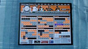 San Jose Giants 2012 Magnetic Schedule (Andrew Susac, Joe Panik, Adam Duvall)