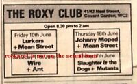 LURKERS SLAUGHTER & DOGS UK TIMELINE Advert - Roxy Club June 1977 2x3 inches