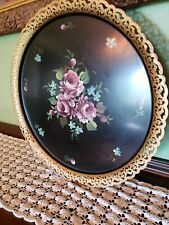 Vintage Large Tole Roses Toleware Serving Tray Antique Nashco Products Metal USA