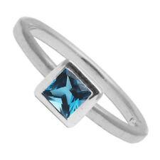 Anillos de joyería con gemas azul en plata de ley de compromiso