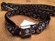 JACK SKELLINGTON ~ SEAT BELT BUCKLE DOG COLLAR & LEASH SET ~ MED