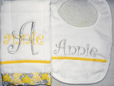 Yellow and Grey Personalized Embroidered Burp Cloth and Bib Set - Great Gift!