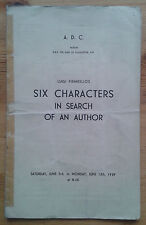 Six Characters In Search Of An Author programme A.D.C theatre 1939 Wallas Eaton