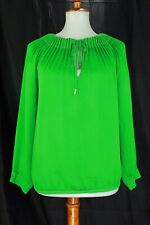 diane von furstenberg Womens Green Pleated Long Sleeve Blouse Size 2