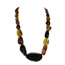 Antique Mexican Chiapas Amber Hand Cut Bead Necklace 119.1 grams