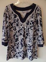 Croft & Barrow XL Womens Cotton Modal White Floral Blue Top Shirt 3/4 Sleeve