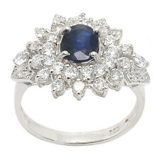 De Buman 925 Silver Oval Natural Sapphire & Cubic Zirconia Luxurious Ring, Size7