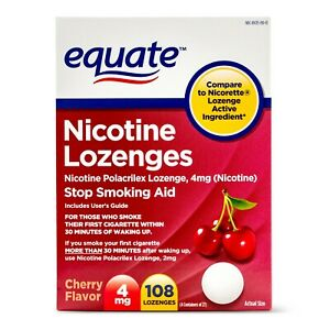 Equate Nicotine Lozenges, Cherry Flavor, 4 mg, 108 Count..