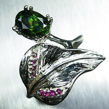 1.60ct Natural Green Zircon & ruby Sterling 925 silver ring