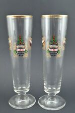 Lindemans Belgian Ale Glass Set of 2 Pêche Pomme Kriek Framboise Etched Gold