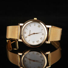 Ladies Fashion Geneva Quartz Gold Tone White Faced Gold Mesh Band Wrist Watch.