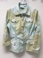 Women's XCVI Tie-Dye Button Down Long Sleeve Shirt Green/Yellow EUC Size M
