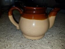 Crock Type Vintage Teapot Brown And Tan
