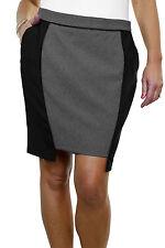 ICE (2525-1) Fully Lined Washable Office Day Tulip Mini Skirt Black Grey Size 10
