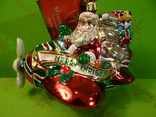 Christopher Radko Peppermint Flyer Glass Ornament