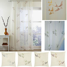 Swallow embroidered voile panels sold in PAIRS or matching filled cushions