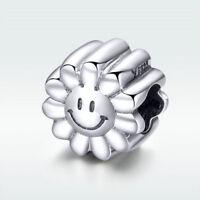 925 Sterling Silver Sunflower Pendant Charm To Women Bracelet Necklace Jewelry