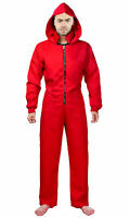Mens Bank Robber Fancy Dress Costume Halloween Red Heist Convict Stag Do Suit