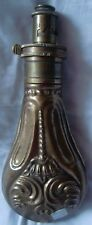 INDIAN HAND MADE ENGRAVED ANTIQUE BRASS GUN POWDER CONTAINER FLASK COLLECTIBLE