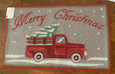 New Merry Christmas Holiday Accent Rug Red Truck With Tree  Rug 27x45