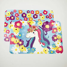 Unicorn & Bright Daisy Flowers Decofoam Reversible Plastic Placemats Set of 4