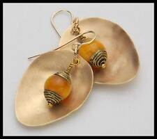 KYA - Tibetan Amber & Repousse - Handforged Bronze & 14KT GF Earrings