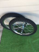 """16 X 175/2.125 BIKE WHEELS W/ TIRES/TUBES MOUNTED 5/16"""" FRONT,  3/8"""" REAR NEW"""