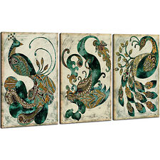 Modern Wall Art Painting Abstract Peacock Canvas Print Framed 3 Panel Home Decor
