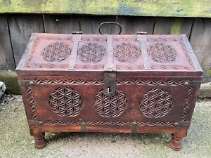 ANTIQUE Vintage INDIAN DOWERY MARRIAGE CHEST trunk carved panels folk art Hindu