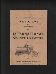 IH INTERNATIONAL STRIPPER HARVESTER 32 PAGE INSTRUCTION MANUAL 1918