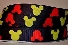 "1 yd 7/8"" Grosgrain Ribbon CARTOON MICKEY MOUSE HEADS PRINTED ON BLACK."