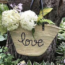 Straw Summer French Market Bag. Straw Beach Bag. Love Straw Purse.