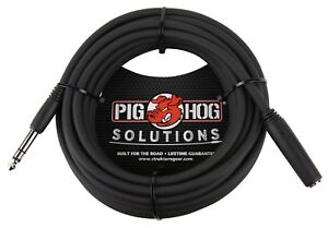 """Headphone Extension Cable TRS 1/4"""" Female to TRS 1/4"""" Male 10' or 25' Pig Hog"""