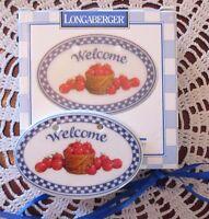 Longaberger Basket WELCOME Apple Basket Ceramic Tie-On New In Box
