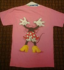 Vintage Minnie Mouse Butt T Shirt 2-Side Pink S Small Disney World Mickey Mini