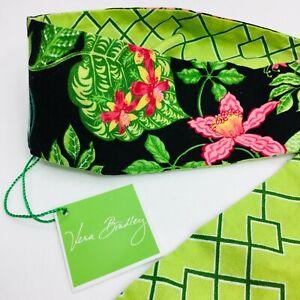 Vera Bradley Scarf Sash Belt Hair Tie Floral Green Geometric Reversible