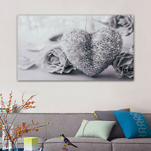 45x80cm Gray Heart Rose Canvas Wall Art Painting Pictures Home Room Decor