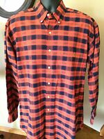*Polo by Ralph Lauren Men's Shirt Size M / L Plaid Orange Long Sleeve Button Up