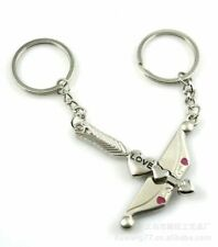 Cupid Bow Arrow Engraved Love Silver Metal Couple Keyrings Lovers Key Chains Set