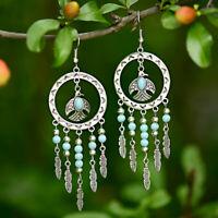Silver Bohemian Round Bird Pendant Tassels Bead Leaf Drop Ethnic Women Earrings