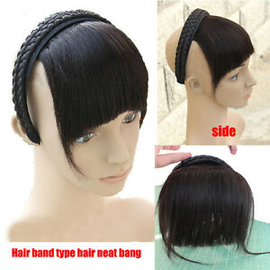65g Real Human Hair Braid Headband Bangs Fringe With Temple Hair Extensions