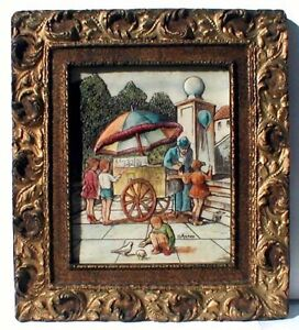 Artini Sculptured Engraving of Ice Cream Vendor & Children
