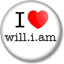"""I Love / Heart will.i.am  25mm 1"""" Pin Button Badge Black Eyed Peas Rapper Music"""