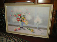 Flowers In Vase Oil Painting On Canvas Signed Sourdain Large Floral Painting