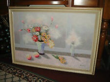 Stunning Flowers In Vase Oil Painting On Canvas-Signed Sourdain ?-Window-Large