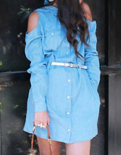 NWT FOREVER 21 FADED BELTED DENIM CHAMBRAY COLD OPEN SHOULDER DRESS M